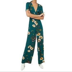 NWT Forever 21 Floral Green Wide Leg Jumpsuit Vneck Short Sleeve Yellow Red S